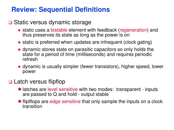 Review sequential definitions