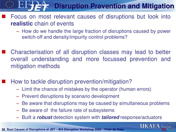 Disruption Prevention and Mitigation