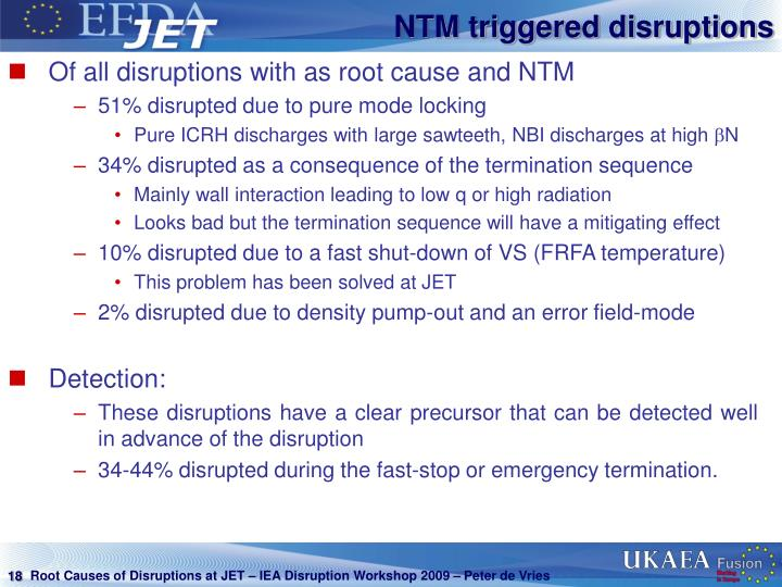NTM triggered disruptions