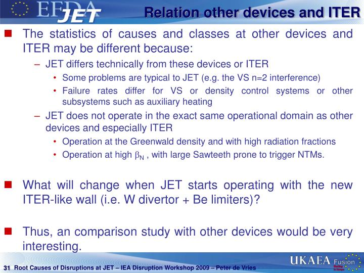 Relation other devices and ITER