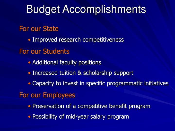 Budget Accomplishments