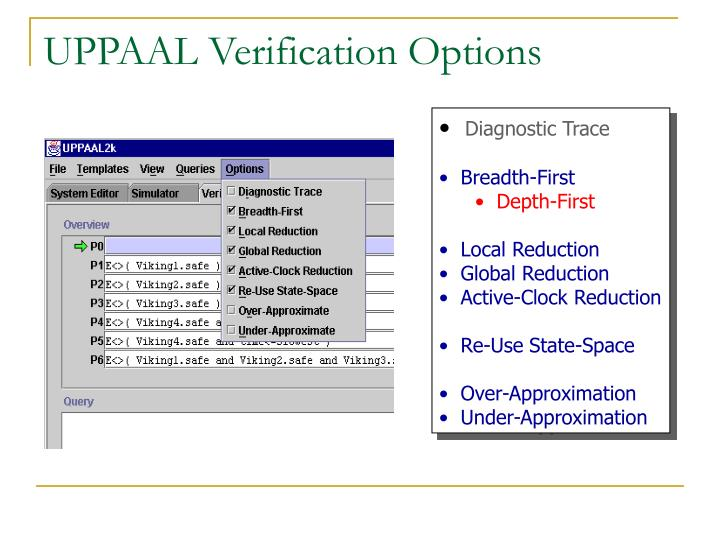 UPPAAL Verification Options