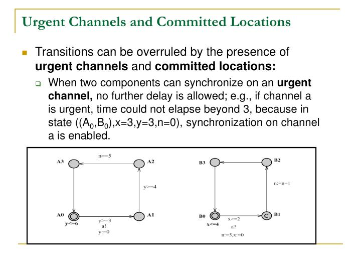 Urgent Channels and Committed Locations