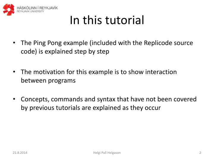 In this tutorial