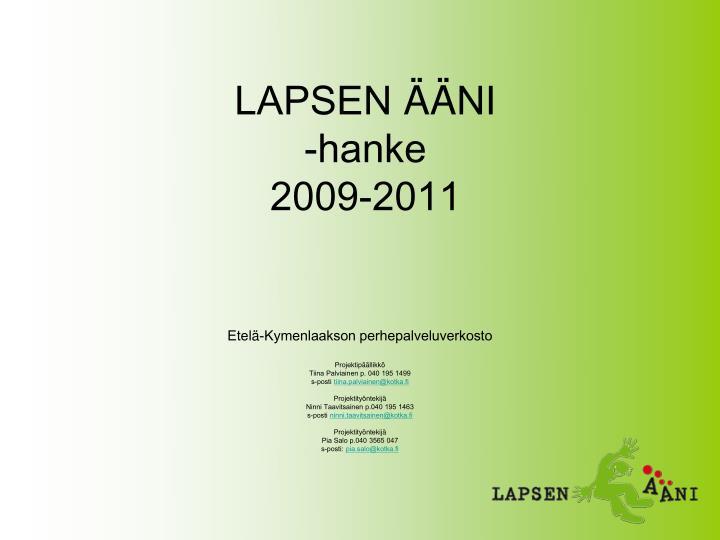 lapsen ni hanke 2009 2011 n.