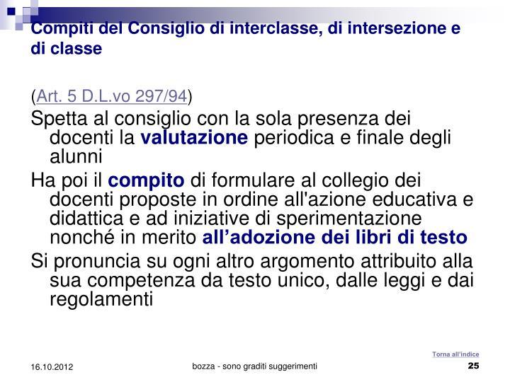 Compiti del Consiglio di interclasse, di intersezione e di classe