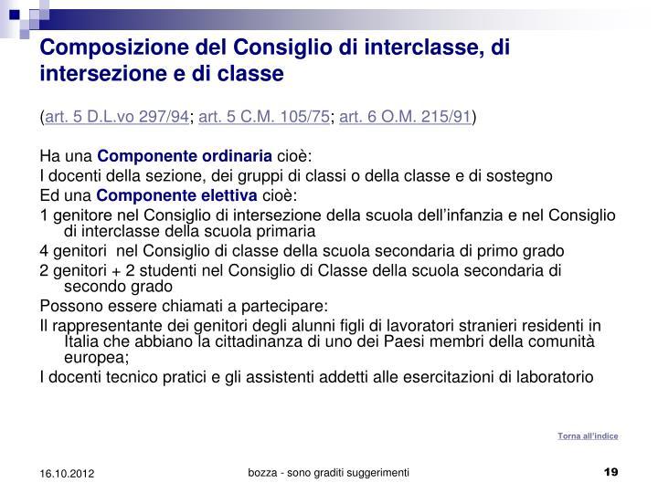 Composizione del Consiglio di interclasse, di intersezione e di classe