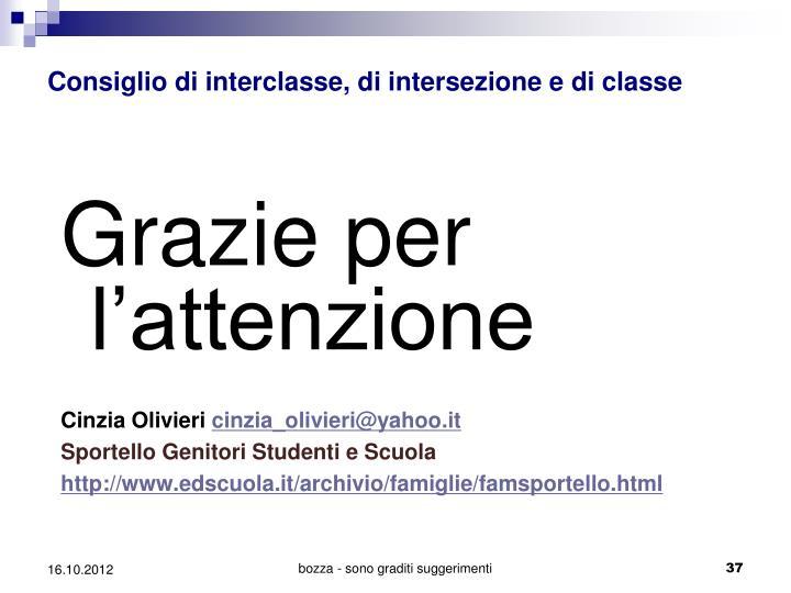 Consiglio di interclasse, di intersezione e di classe