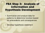 fba step 3 analysis of information and hypothesis development
