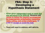 fba step 3 developing a hypothesis statement
