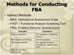 methods for conducting fba