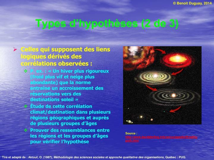 Types d'hypothèses (2 de 3)