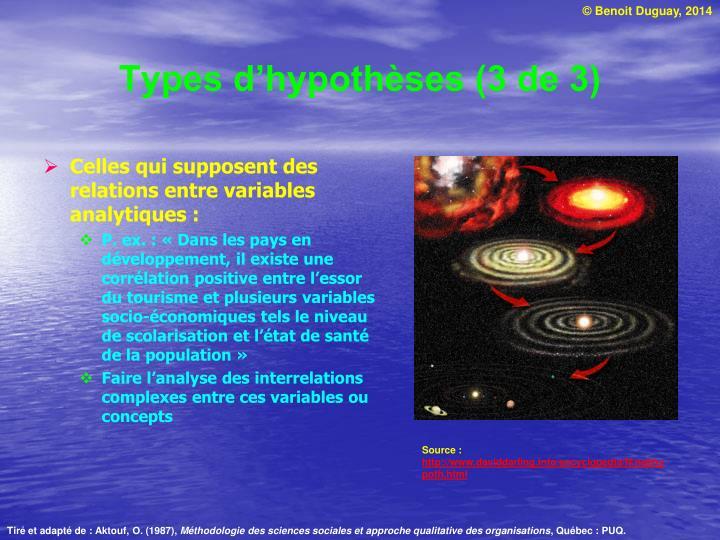 Types d'hypothèses (3 de 3)