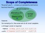 scope of completeness