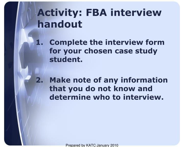 Activity: FBA interview handout