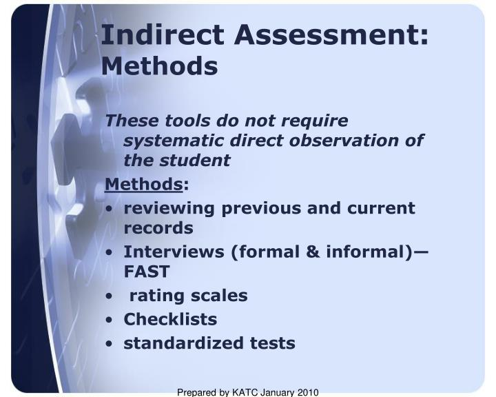 Indirect Assessment: