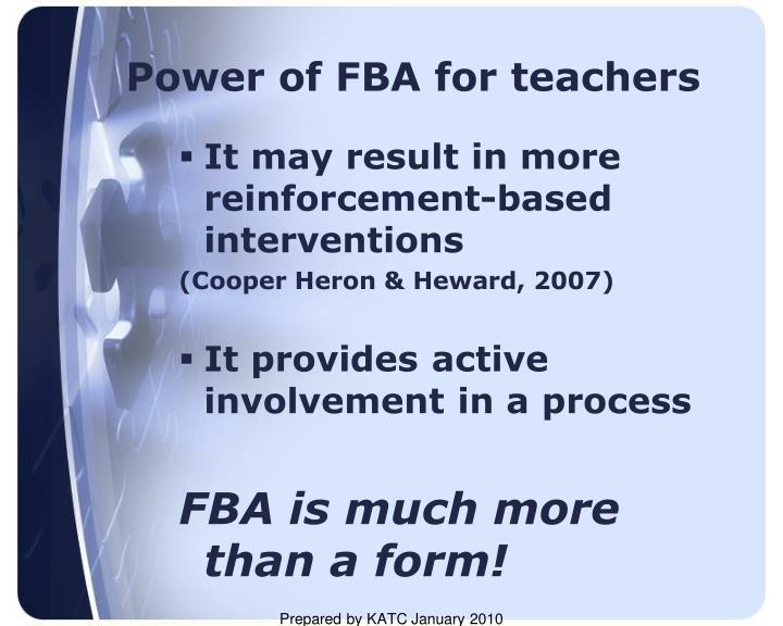 Power of FBA for teachers