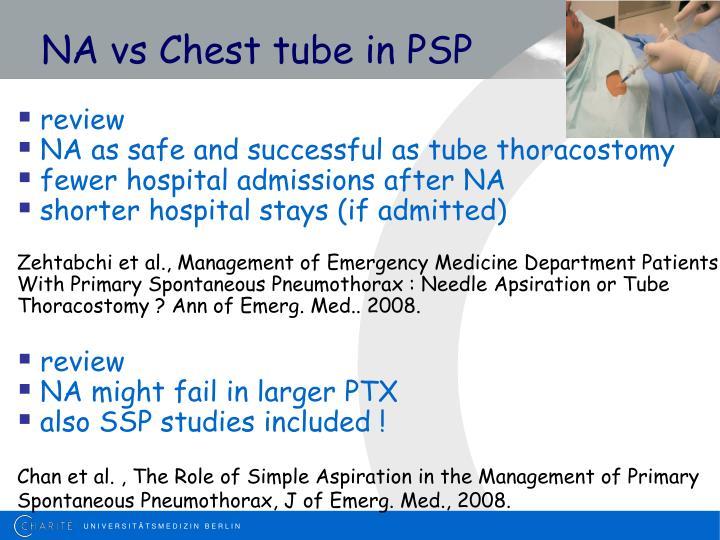 NA vs Chest tube in PSP