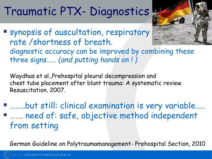 Traumatic PTX- Diagnostics