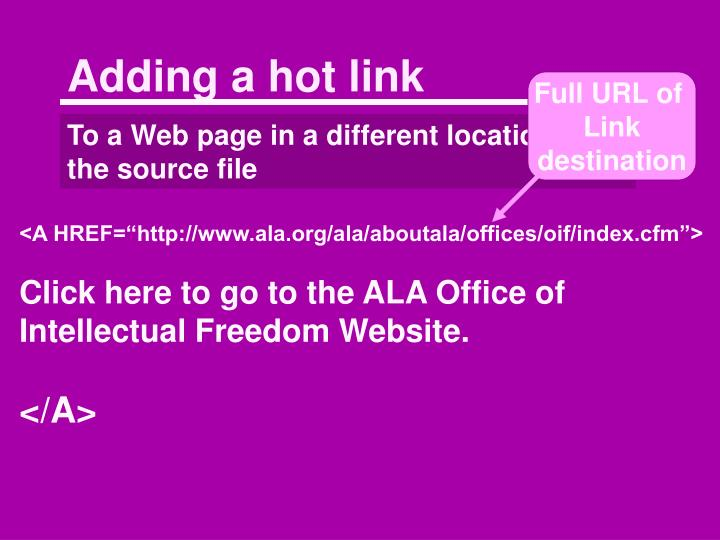 Adding a hot link