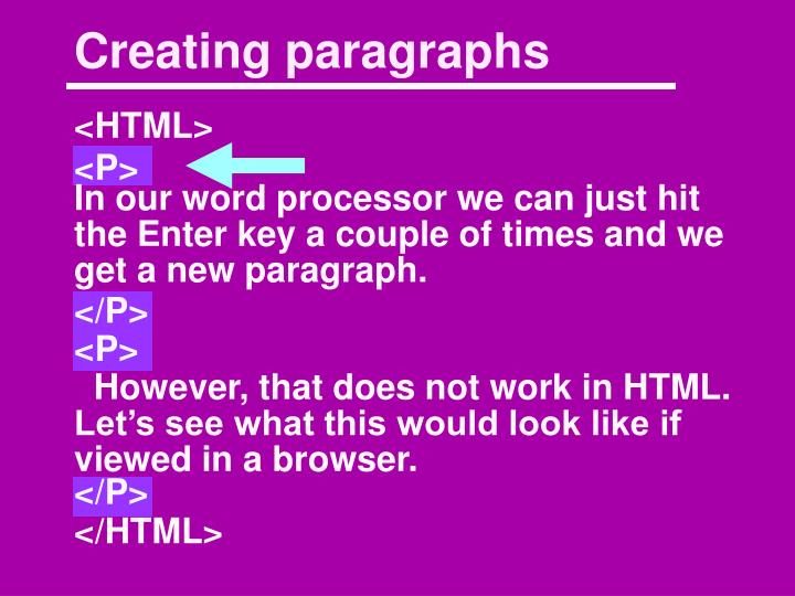 Creating paragraphs
