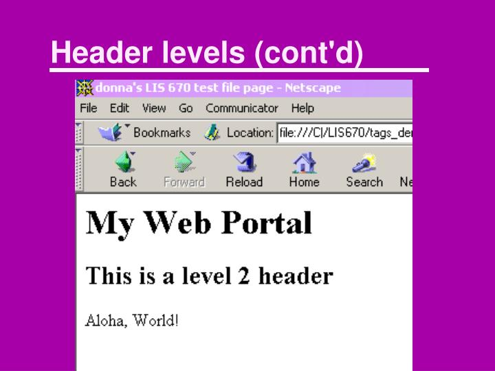 Header levels (cont'd)