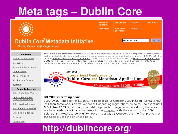 Meta tags – Dublin Core
