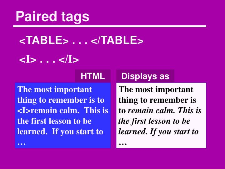 Paired tags