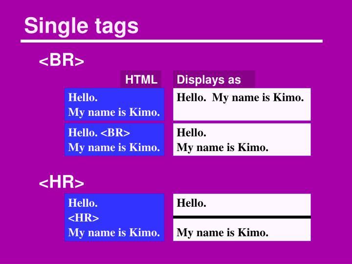 Single tags