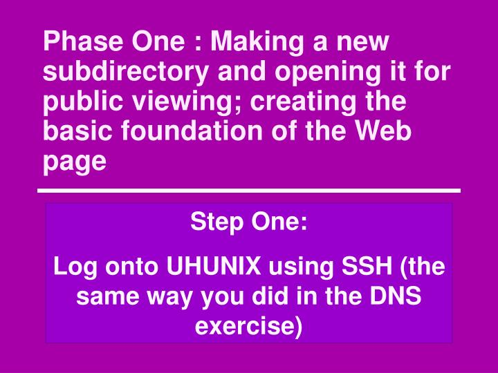 Phase One : Making a new subdirectory and opening it for public viewing; creating the basic foundation of the Web page