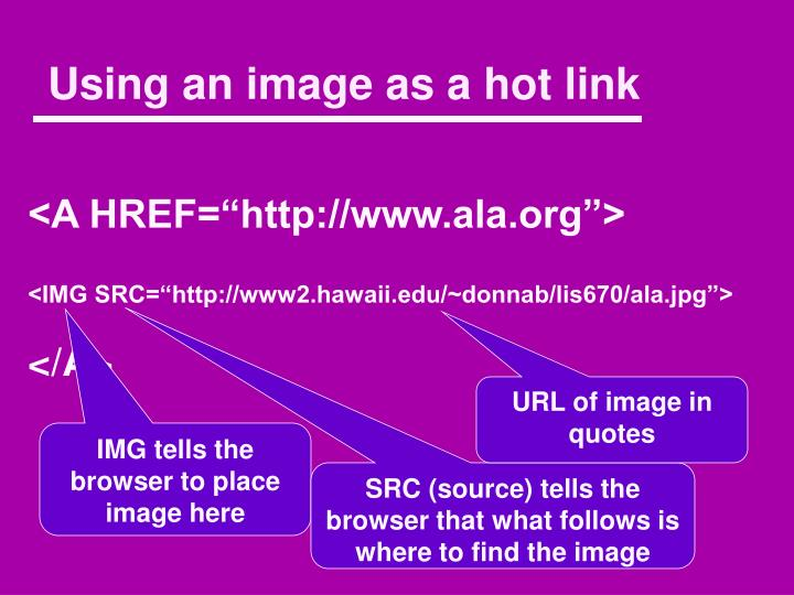 Using an image as a hot link