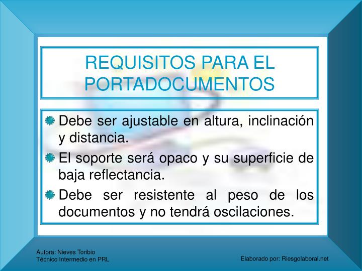 REQUISITOS PARA EL PORTADOCUMENTOS