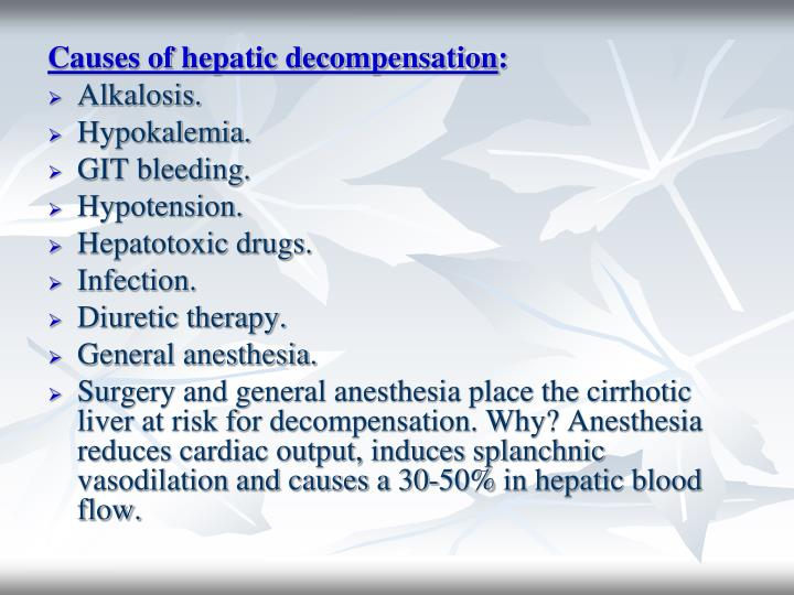 Causes of hepatic decompensation