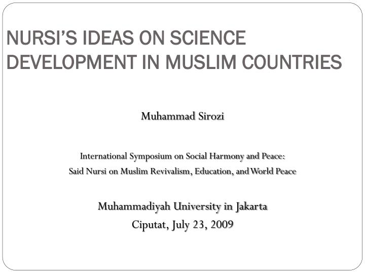 nursi s ideas on science development in muslim countries