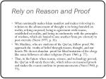 rely on reason and proof