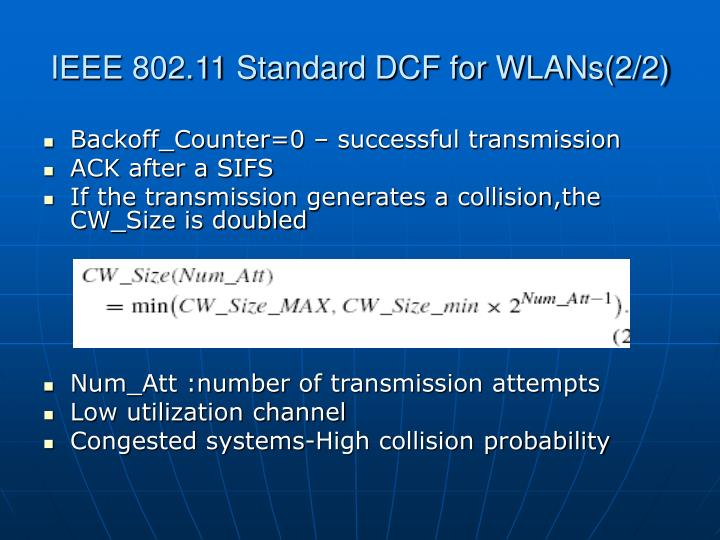 IEEE 802.11 Standard DCF for WLANs(2/2)