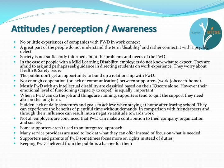 Attitudes / perception / Awareness
