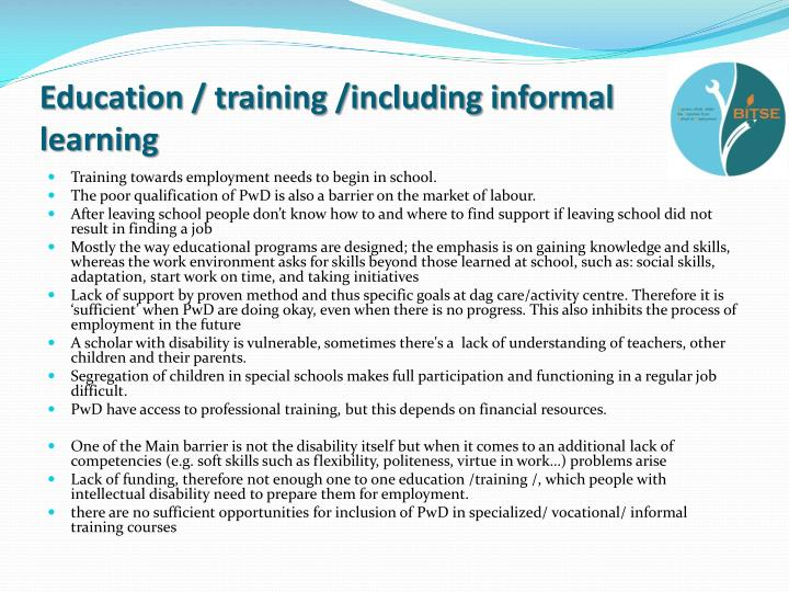 Education / training /including informal learning