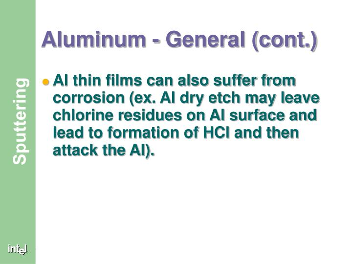 Aluminum - General (cont.)