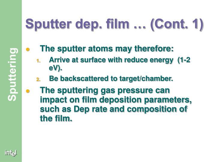 Sputter dep. film … (Cont. 1)