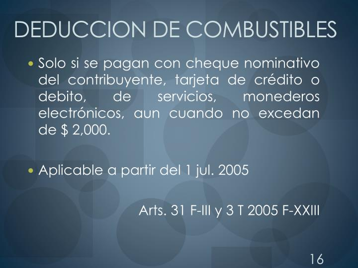 DEDUCCION DE COMBUSTIBLES