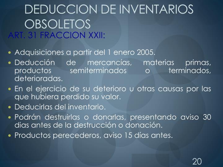 DEDUCCION DE INVENTARIOS OBSOLETOS