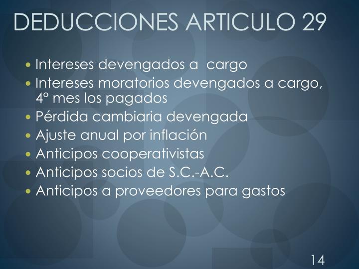 DEDUCCIONES ARTICULO 29