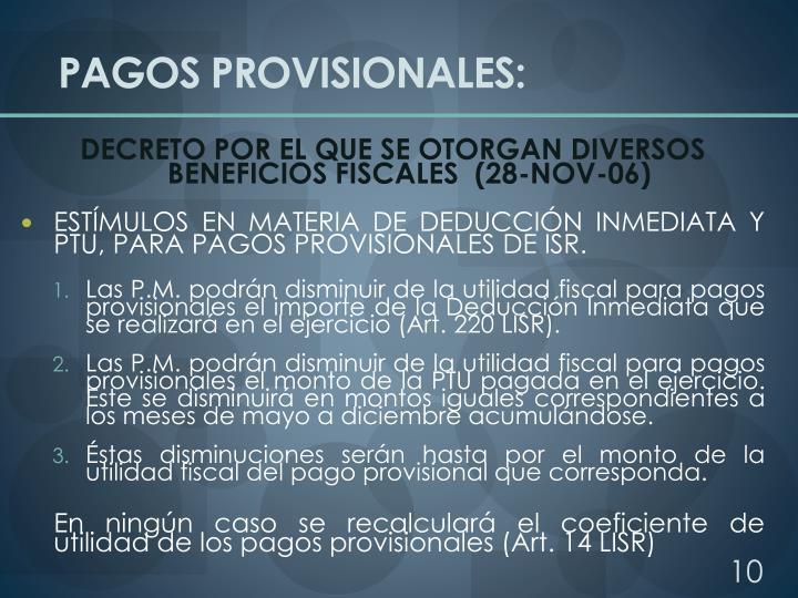 PAGOS PROVISIONALES: