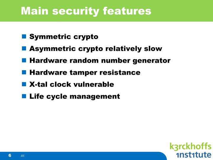 Main security features