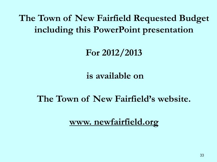 The Town of New Fairfield Requested Budget