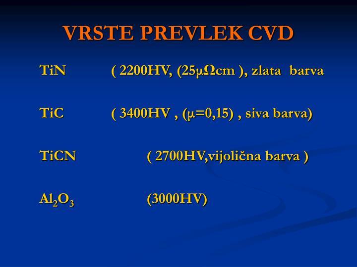 VRSTE PREVLEK CVD