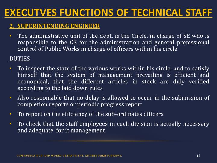 EXECUTVES FUNCTIONS OF TECHNICAL STAFF
