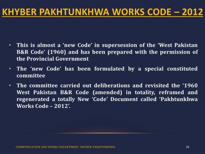 KHYBER PAKHTUNKHWA WORKS CODE – 2012