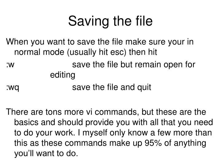 Saving the file